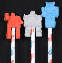 Vintage 1985 Set Of Three Robot Pencils With Novelty Erasers